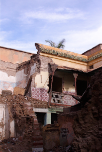 a collapsed riad in Marrakech's Medina