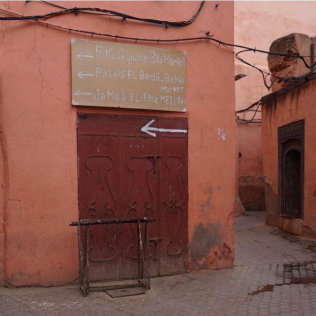 Image taken on my trip to Marrakech of makeshift signs in the medina